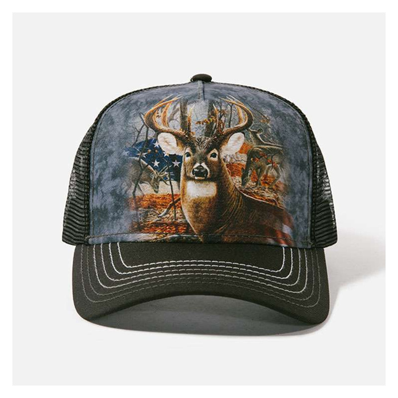 Patriotic Buck Trucker Hat