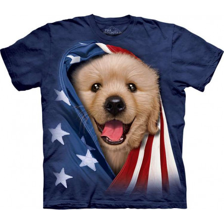 Patriotic Golden Pup T-Shirt The Mountain
