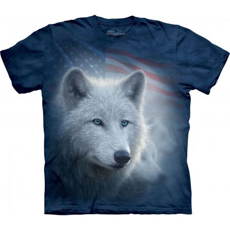 Patriotic White Wolf T-Shirt