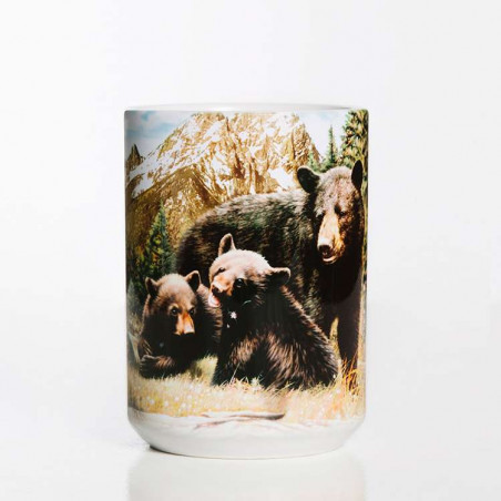 Black Bear Family Ceramic Mug The Mountain
