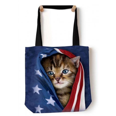 Patriotic Kitten Tote Bag The Mountain