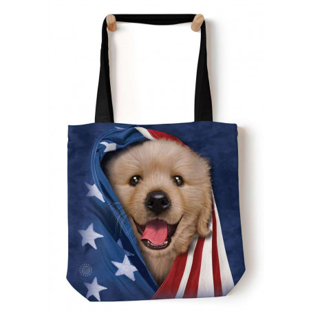 Patriotic Golden Pup Tote Bag The Mountain