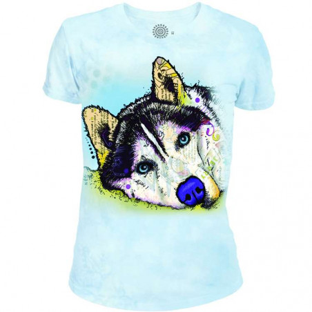Russo Siberian Husky Women's Tri-Blend T-Shirt The Mountain