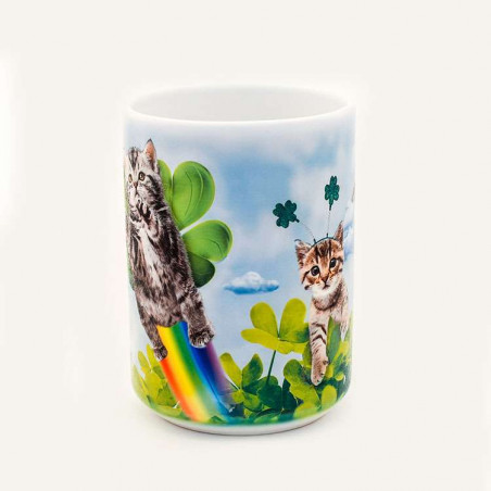 Green Irish Fairy Kitten Ceramic Mug The Mountain