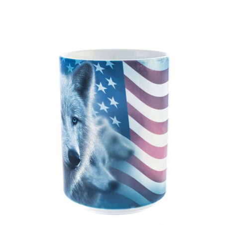 Patriotic White Wolf Ceramic Mug The Mountain