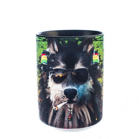Smoking Rasta Wolf Ceramic Mug