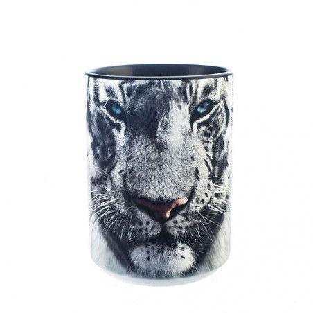 White Tiger Face Ceramic Mug The Mountain