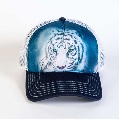 Thoughtful White Tiger Trucker Hat The Mountain
