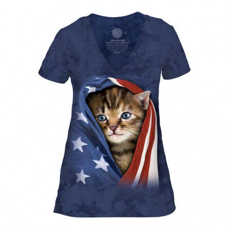 Patriotic Kitten Women's Tri-Blend V-Neck T-Shirt The Mountain
