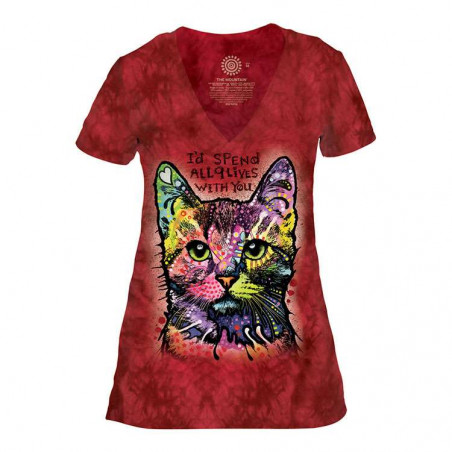Russo 9 Lives Womens Tri-Blend V-Neck T-Shirt The Mountain