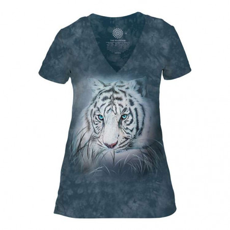 Thoughtful White Tiger Womens Tri-Blend V-Neck T-Shirt