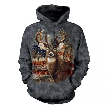 Patriotic Buck Hoodie The Mountain
