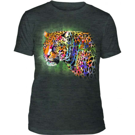 Mens T-Shirt Tri-Blend Painted Cheetah Black