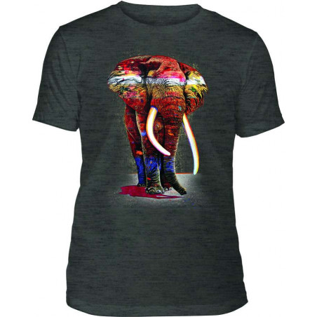Mens T-Shirt Tri-Blend Painted Elephant Black The Mountain