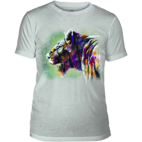 Mens T-Shirt Tri-Blend Painted Lion Grey The Mountain