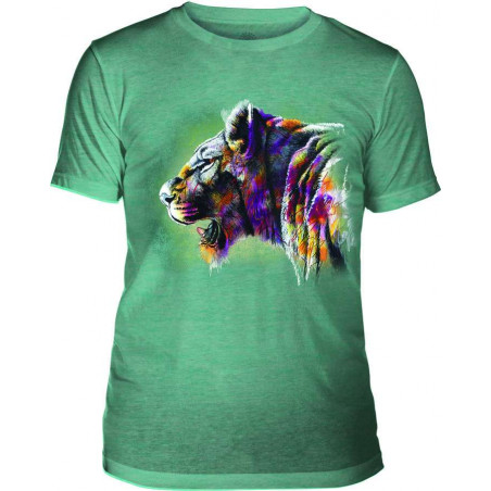 Mens T-Shirt Tri-Blend Painted Lion Teal The Mountain