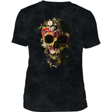 Mens T-Shirt Tri-Blend Garden Skull Black The Mountain