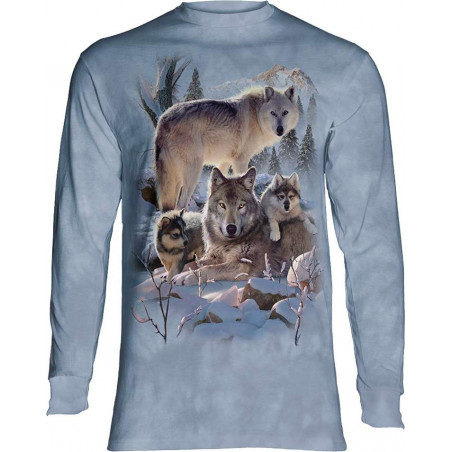 Wolf Family Mountain Long Sleeve T-Shirt