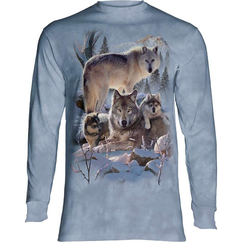 Wolf Family Mountain Long Sleeve T-Shirt