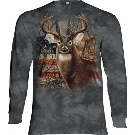 Patriotic Buck Long Sleeve T-Shirt