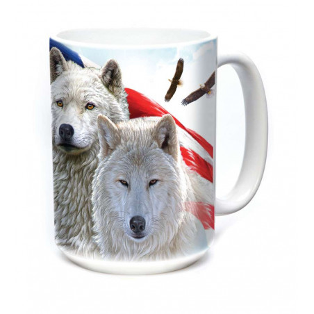 Ceramic Mug Patriotic Wolves