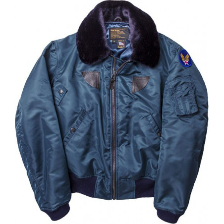 B-15 Nylon Flight Satin Jacket w Mouton Collar Blue