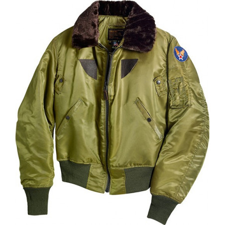 B-15 Nylon Flight Satin Jacket w Mouton Collar Olive