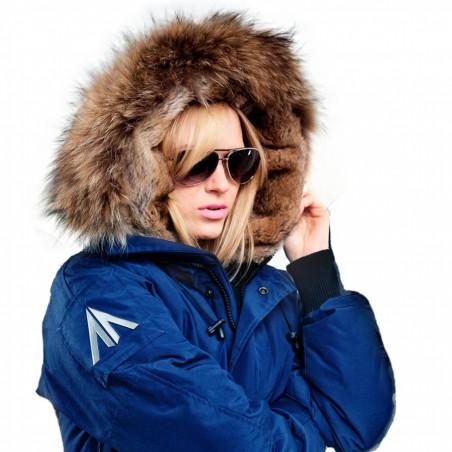 Saint Sauveur Blue Bomber Jacket Women
