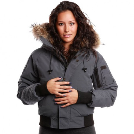 Saint Sauveur Grey Bomber Jacket Women