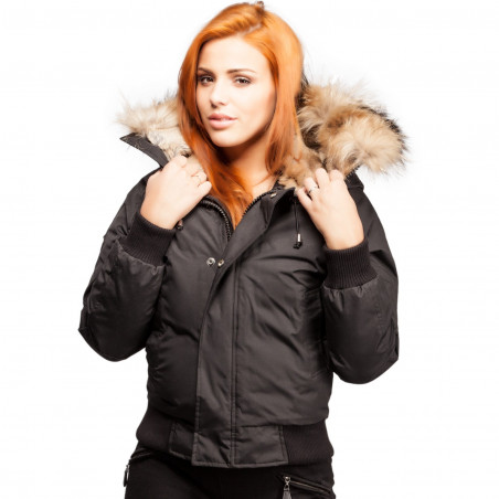 Saint Sauveur Black Bomber Jacket Women