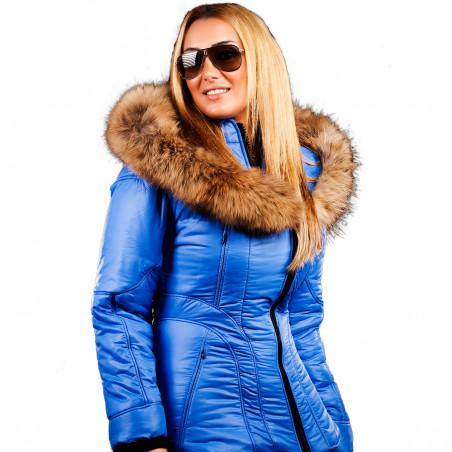 Sicilia-Shinny Cobalt Puffer Jacket Women