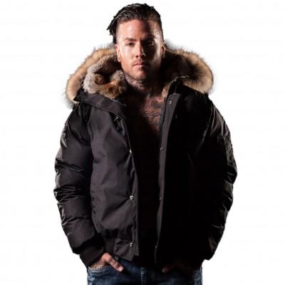 Arctic North Men Saint Sauveur Black Bomber Jacket Fur-Trim