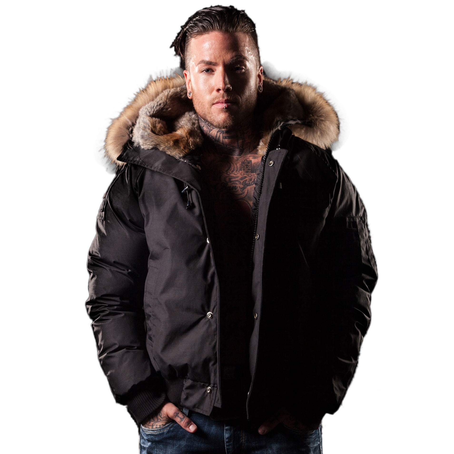 Men Bomber Jacket Fur-Trim Saint Sauveur Arctic North Black ...