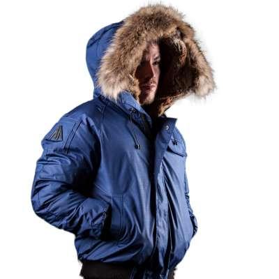 Arctic North Men Saint Sauveur Blue Bomber Jacket Fur-Trim