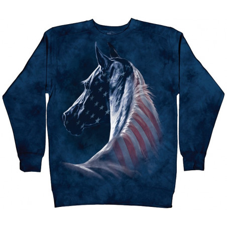 Patriotic Horse Head Crew Neck Sweatshirt