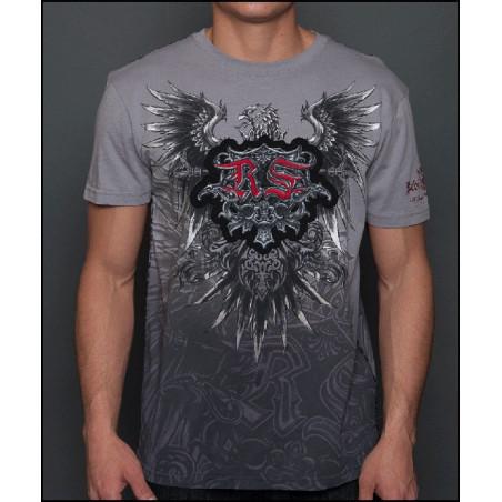Rebel Spirit Men Eagle Spread Wings Grey SS Tee