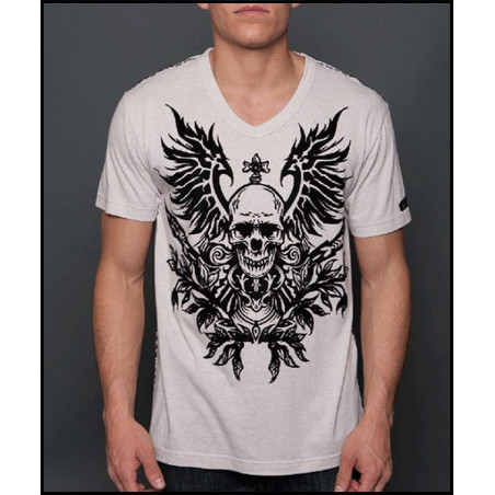 Skull Wings Crem SS Tee Men Rebel Spirit