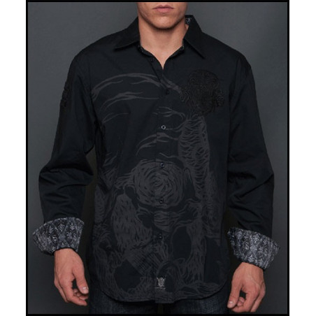 Rebel Spirit Men Big Skull Black LS Shirt
