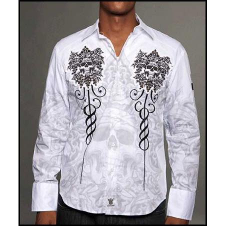 Rebel Spirit Men Flower Skulls LS Shirt