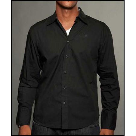 Rebel Spirit Men Filigree Crown Black LS Shirt
