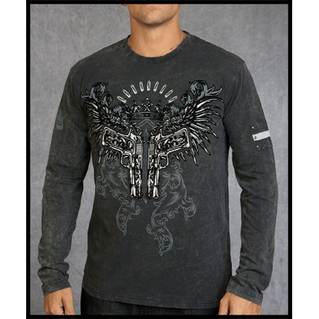 Double Guns Black LS Tee Men Rebel Spirit