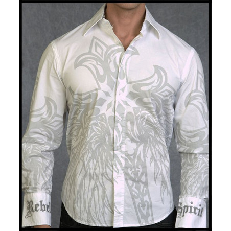 Cross Wings White LS Shirt Men Rebel Spirit