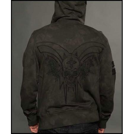 Winged Skull Olive Hoodie Men Rebel Spirit