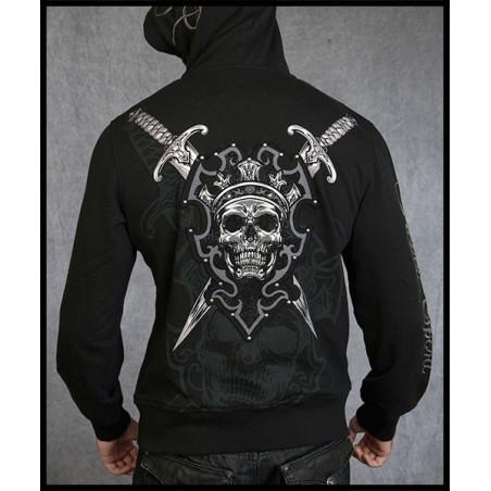 Crown Skull Swords Hoodie Men Rebel Spirit