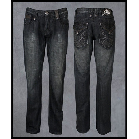 Black Crown Jeans Men Rebel Spirit
