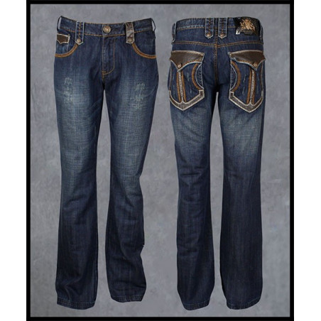 Leather Pockets Jeans Men Rebel Spirit