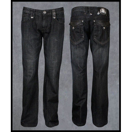 Black Leather Pockets Jeans Men Rebel Spirit