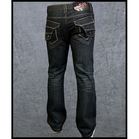 Patch Pockets Jeans Men Rebel Spirit