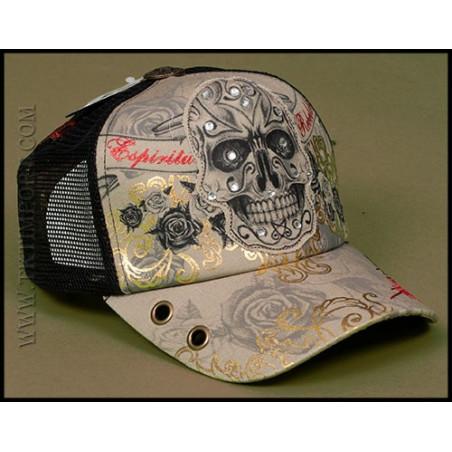 Rebel Spirit Rhinestone Skull Cap