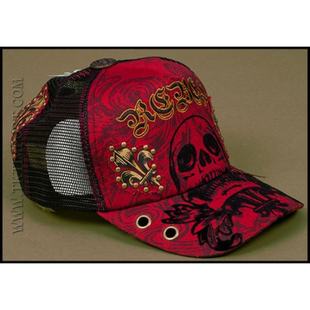 Rebel Spirit Red Skull Cap